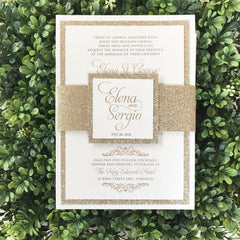 Deluxe Glitter Belly Band Wedding Invitation 0169A