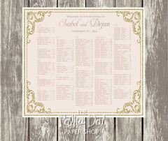 Glitter gold and blush pink Seating Chart 0399