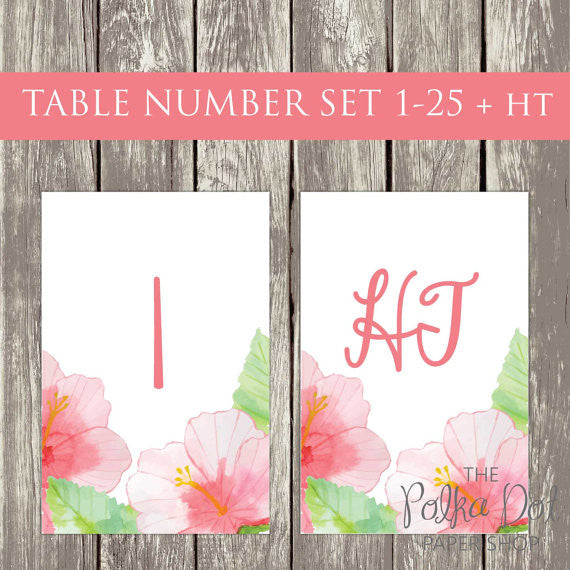 DIY Instant Download & Print - Pink Hibiscus Watercolour Wedding Table Number Set Tables 1-25  0502