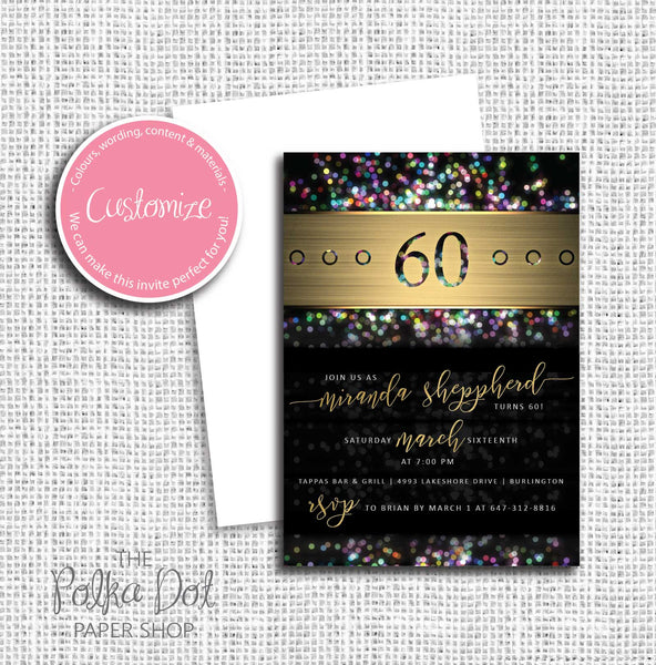 Glitter Adult Birthday Party Invitation 54767