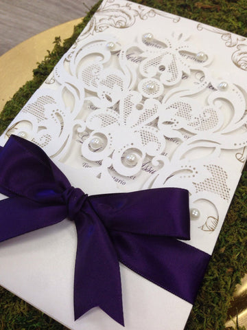 Lace Laser Cut Wedding Invitation with Pearls and Satin Bow 0467