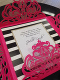 Hot pink, black and white striped and gold glitter laser cut / Wedding / Bridal Shower / Bat Mitzvah Invitation 0402