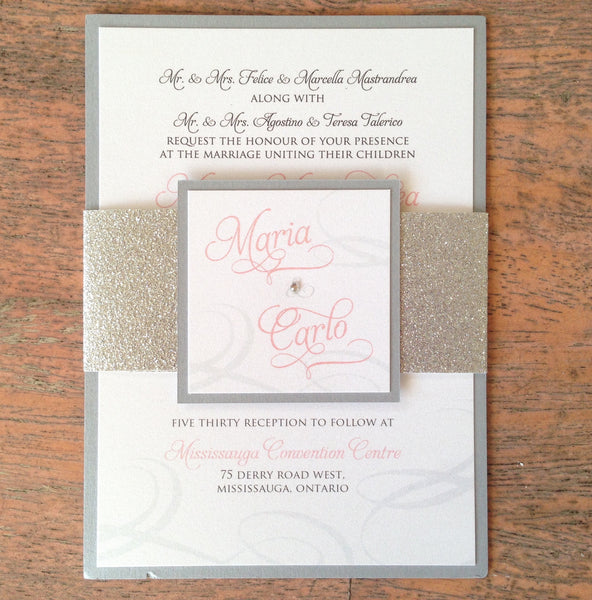 Glitter Belly Band Wedding Invitation 0169