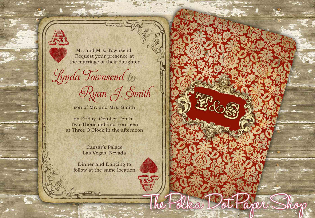 Ace of Hearts Playing Card Wedding or Birthday Party Invitation – Playing Card Party Invitations