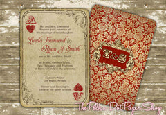 Ace of Hearts Playing Card Wedding or Birthday Party Invitation 0301
