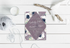 NEW 2019! Amethyst Anemone Wedding Invitation 54751