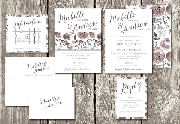 Amethyst Bouquet - Floral Belly Band Printed Wedding Invitation 10238