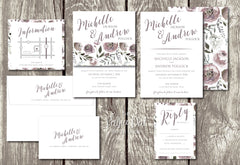 NEW 2018 - Amethyst Bouquet - Floral Belly Band Printed Wedding Invitation 10238