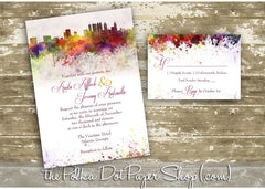 Watercolour Skyline Printed Invitation (Atlanta) 0233