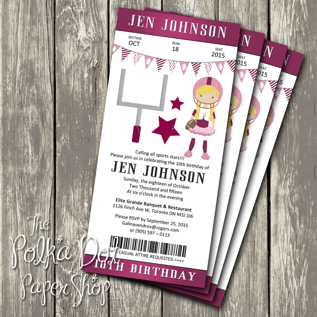 Football Ticket Themed Birthday Party Invitation 0440 The Polka Dot Paper Shop