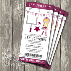Football Ticket Themed Birthday Party Invitation 0440