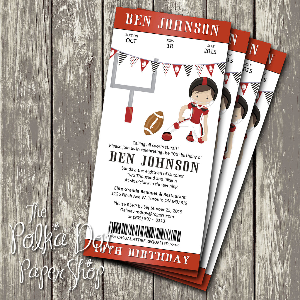 Football Ticket Themed Birthday Party Invitation 0439 The Polka Dot Paper Shop