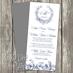 French Toile Inspired 4x9 Printed Flatcard Invitation 0177