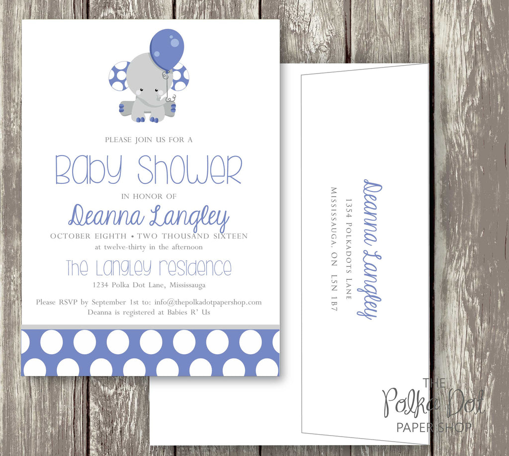 polka dot elephant baby shower invitation in pink blue or turquoise