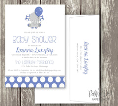 Polka Dot Elephant Baby Shower Invitation in Pink, Blue or Turquoise / Baby Girl / Baby Boy / Gender Neutral 0412