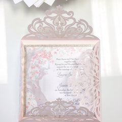 Blush Pink Laser Cut Wedding Invitation with Glittery Spring Cherry Blossom Tree # 0101