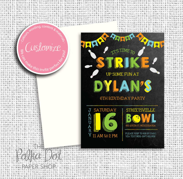 Bowling Party Child Birthday Party Invitation 549074