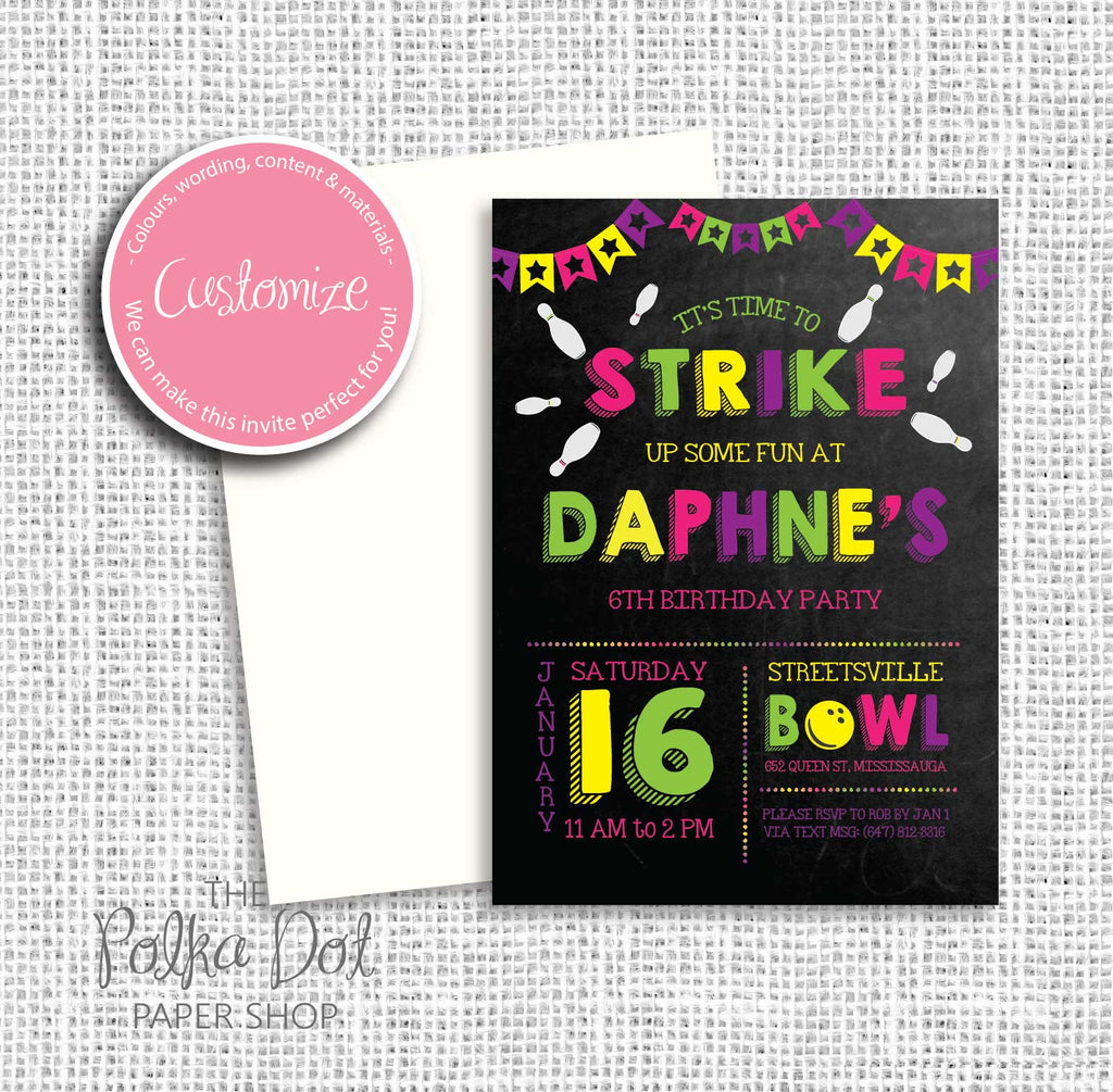 Bowling Party Child Birthday Invitation 549074 The Polka Dot Paper Shop