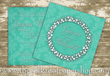 Double Sided Aqua Diamonds Bridal Shower or Party Invitation 0268