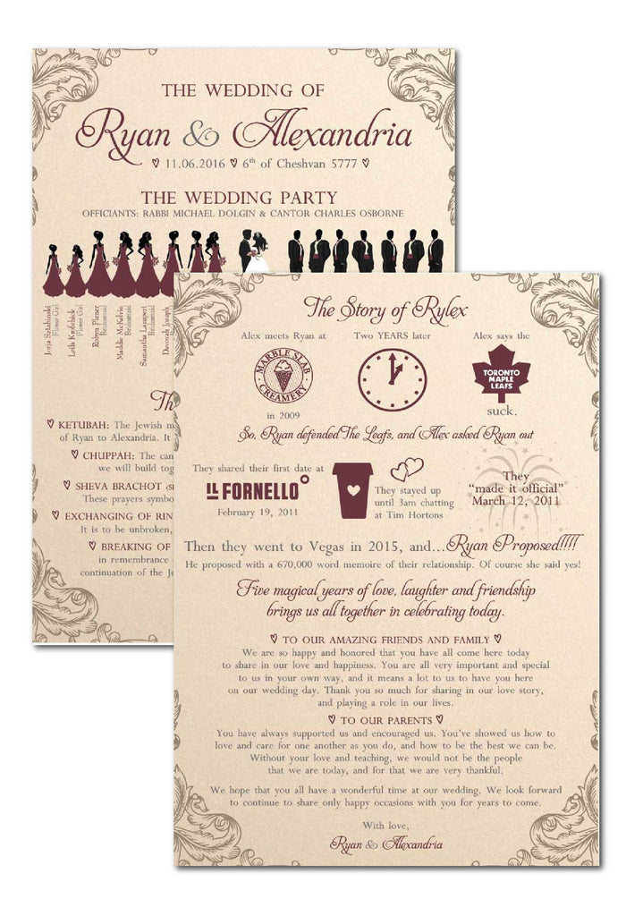 2 sided silhouette ceremony programs 4587b the polka dot paper shop