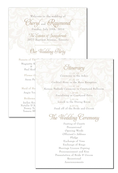 2-Sided Classic Ceremony Program 4593