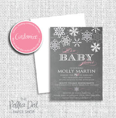 Chalkboard Style Winter Wonderland Baby Shower Invitation 0432P