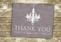 Pack of 10 Customized Chandelier Damask Thank You Cards 0338