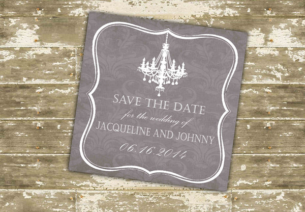 Elegant Chandelier and Damask Save the Date Cards 0328