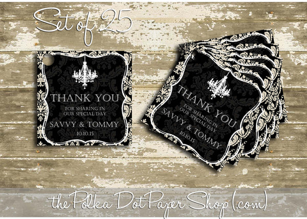 25 Customizable Damask Favour Tags 0399