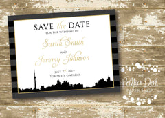 Urban Chic Toronto Skyline (or any skyline!) Wedding Save the Date 00877