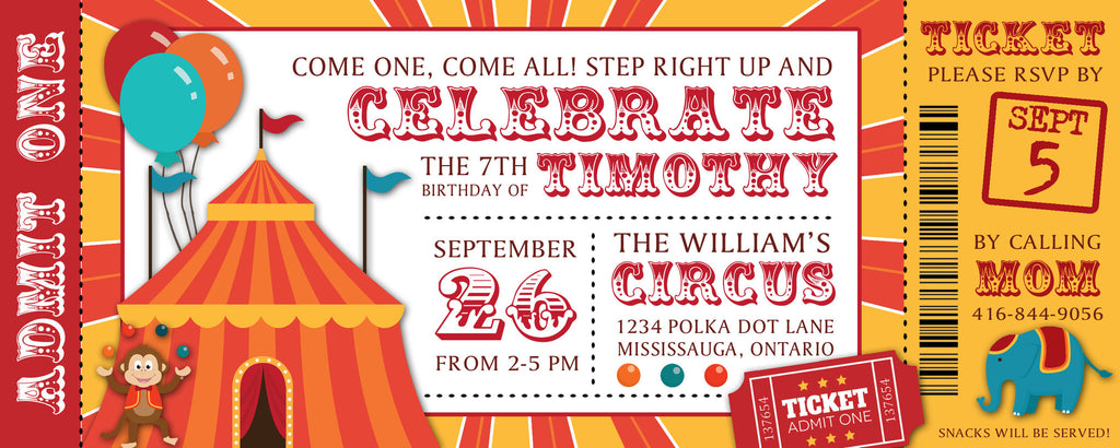 circus ticket birthday party invitation / baby shower invitation, Birthday invitations