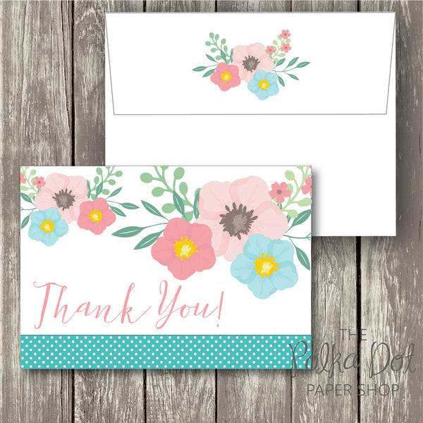Pack of 10 Cute Whimsical Flower Polka Dot Thank You Cards with Envelopes 0341