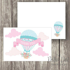 Pack of 10 Cute Whimsical Flower Hot Air Balloon Thank You Cards with Envelopes 0340