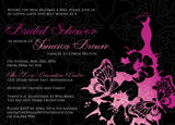 Fabulous Faux Glitter Butterfly Dress Bridal Shower Invitation 0262