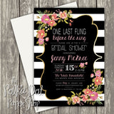 Modern Stripes Floral Bridal Shower Invitation 0251