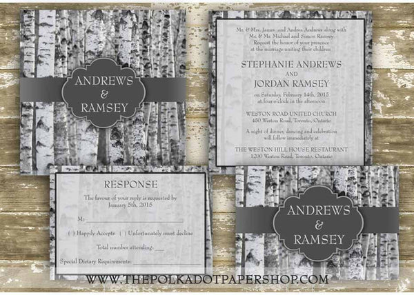 Modern Winter Birch Tree Printed Invitation 0226