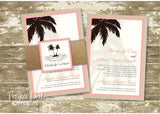 Destination Palm Tree Glitter Belly Band Wedding Invitation 0164