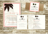Palm Tree Glitter Belly Band Wedding Invitation 0164c