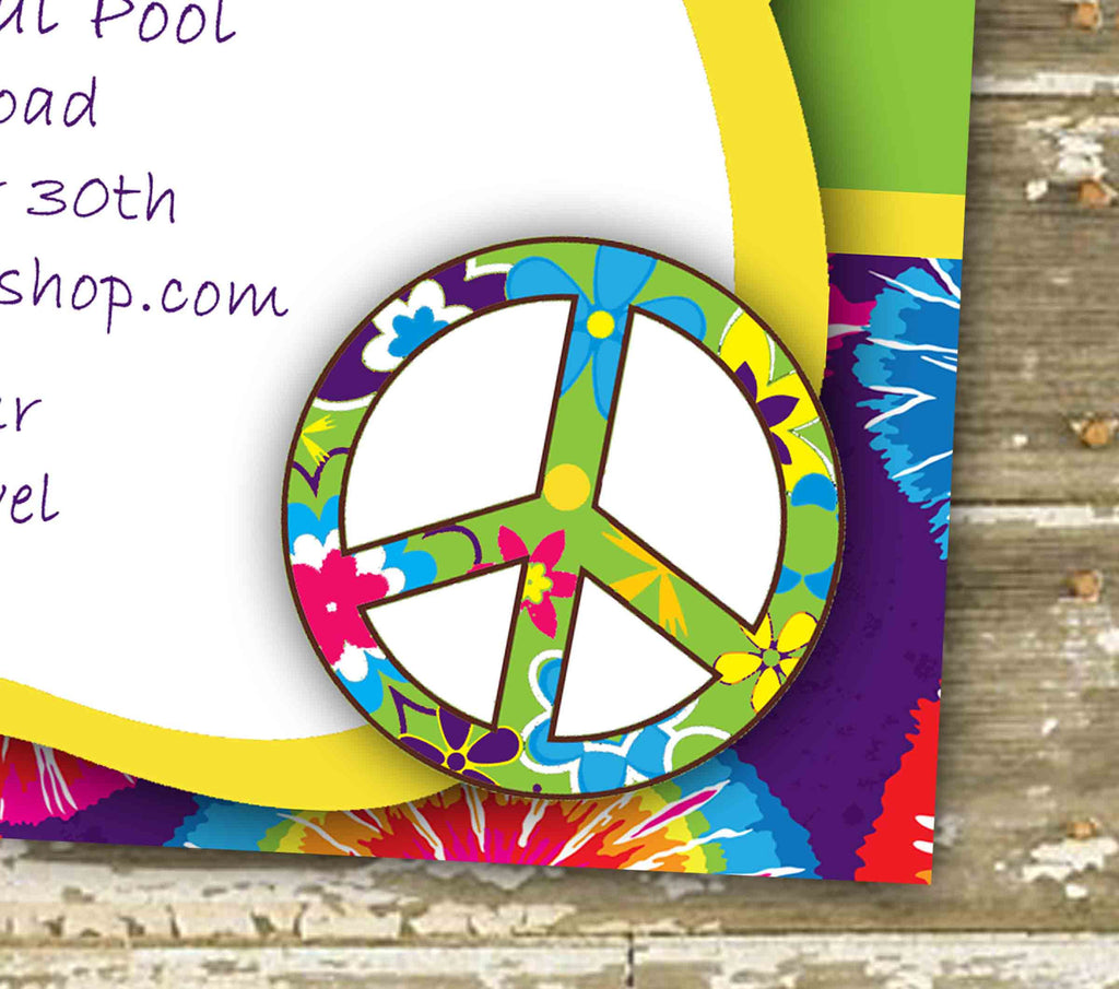 Hippie Groovy Birthday Party Invitation 0441 – The Polka Dot Paper Shop