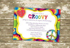 Hippie Groovy Birthday Party Invitation 0441