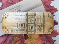 Movie Ticket Wedding Invitation with Film Strip Belly Band 0166
