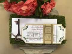 Movie Ticket Wedding Invitation with Film Strip Belly Band 0167