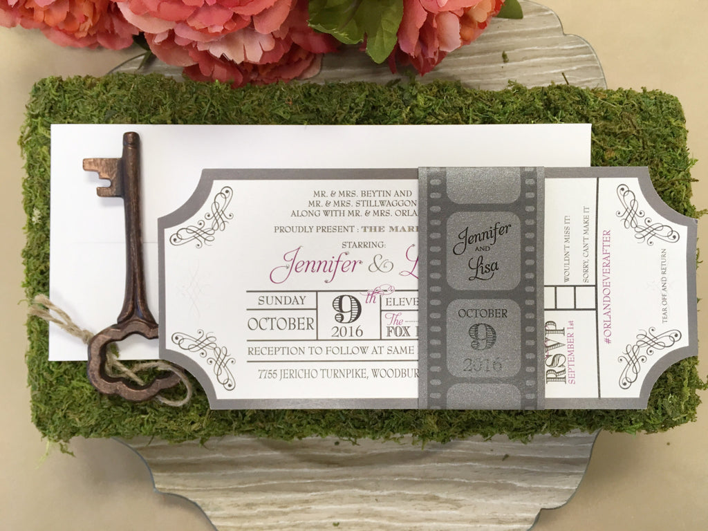 Movie Ticket Themed Flat Invitation with Film Strip Belly Band 0169 ...