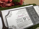 Movie Ticket Wedding Invitation with Film Strip Belly Band 0169