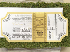 Movie Ticket Themed Flat Invitation with Film Strip Belly Band 0170