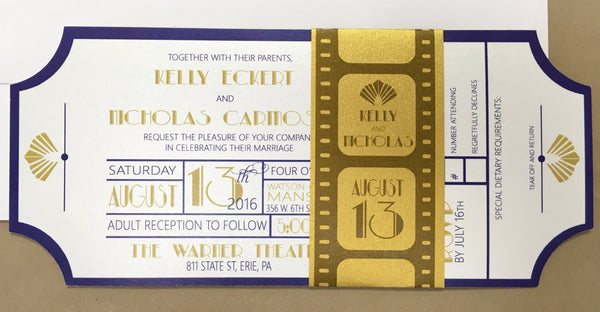 Movie Ticket Themed Flat Invitation with Film Strip Belly Band 0171