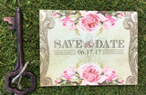 Rustic Vintage Postcard themed Save the Date Card 0496