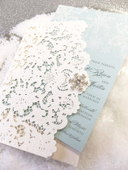 Winter Wonderland Laser Cut Wedding Pocket Fold Invitation #0475