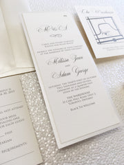 Simple Elegance Wedding, Bridal Shower or Party Printed Invitation Suite 0886