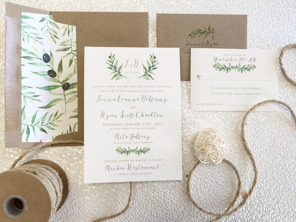 Cotton Cardstock Watercolour Olive Branch Design Printed Flat Card Wedding Invitation Suite 197